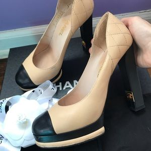 Chanel Nude beige black pumps size 37.5